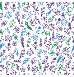 Hand drawn floral seamless patterns ornaments vector