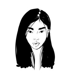 hand drawn portrait an asian girlm fashion vector image