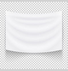 hanging empty white textile banner vector image