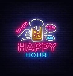 Happy hour neon sign happy hour design vector