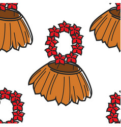 Hawaii hula straw skirt and flower beads seamless vector