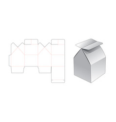 House shaped gift box die cut template design vector
