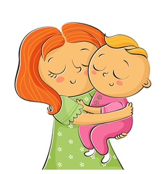 I of mother holding little daughter isolated on vector image
