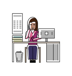 Indian businesswoman talking on phone vector