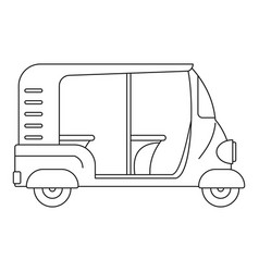 Indian rickshaw icon outline style vector
