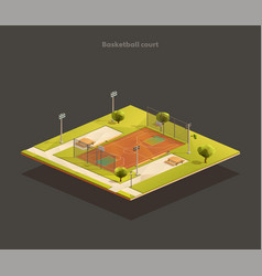 isometric basketball court arena vector image