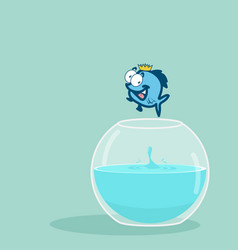 King fish jumping out of fishbowl vector