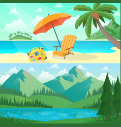 landscape sea and mountains vector image