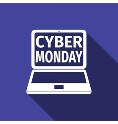 Laptop with Cyber Monday Sale text on screen flat vector image