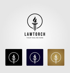 law and torch symbol on logo simply color and vector image