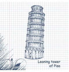 Leaning tower hand drawn sketch vector