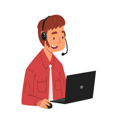 Male call center operator online customer support vector
