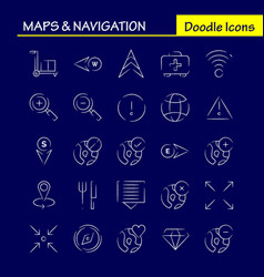 Maps and navigation hand drawn icon pack for vector