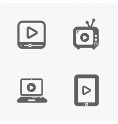 Modern flat video player icons vector image