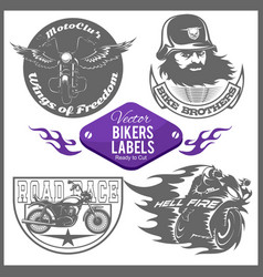 motorcycle set with vintage custom logos vector image