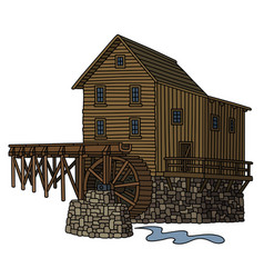 old wooden watermill vector image vector image