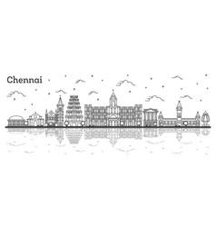 Outline chennai india city skyline with historic vector