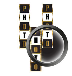 Photographic film and magnifying glass vector