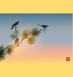pine tree branch and birds on sunrise sky vector image