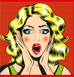 Pop art surprised woman face with open mouth comic vector