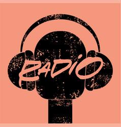 radio station handwritten vintage grunge poster vector image