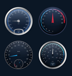 realistic detailed 3d speedometers set vector image
