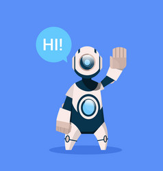 robot says hi greeting cyborg isolated on blue vector image