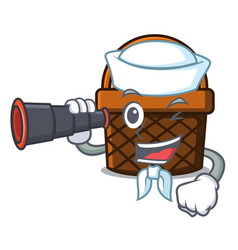 Sailor with binocular bread basket mascot cartoon vector