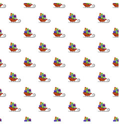 santa claus sleigh pattern seamless vector image
