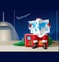 Santas Christmas travel vector