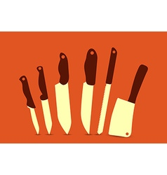 set of knives vector image vector image