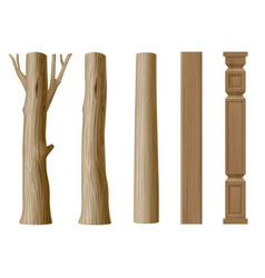 set of pillars of wood vector image