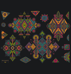 Set of tribal art boho hand drawn geometric vector