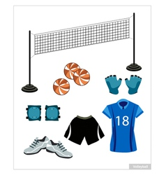 Set of Volleyball Equipment on White Background vector image vector image