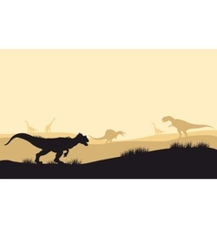 Silhouette of allosaurus at morning with fog vector