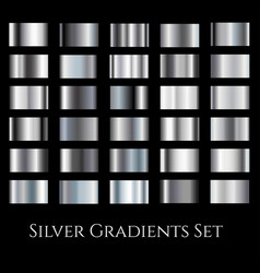 Silver metal gradient set gradation design vector