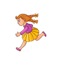 sketch running girl ranaway kid vector image