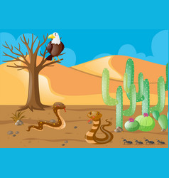 Snakes and eagle in the desert vector