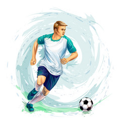 Soccer player with a ball from splash of vector
