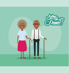 Stay at home campaign with afro grandparents vector