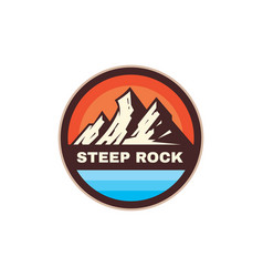 steep rock adventure outdoors - concept badge vector image