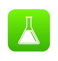 test tube with oil icon digital green vector image