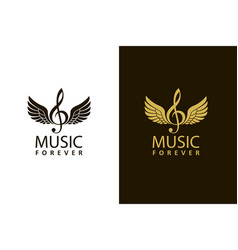 Treble clefs with wings vector