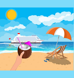 Tropical beach with cruise ship and cocktail vector