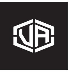va logo monogram with hexagon shape and piece vector image