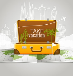 World map with the open bag Vacation concept vector image vector image