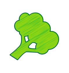 broccoli branch sign lemon scribble icon vector image vector image
