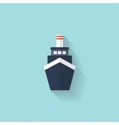 Liner ship flat web icon vector
