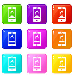 mobile phone with photo icons 9 set vector image vector image