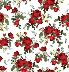 Seamless floral pattern with red roses on white vector image